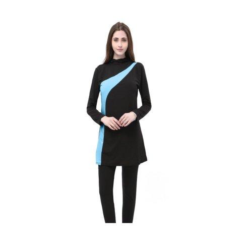 SWIMMING SET WITH LEGGINGS BLUE DIAGONAL PATTERN DESIGN