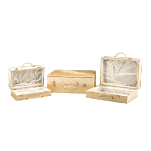 BRIDE BOX WITH EMBROIDERED WHITE LEAVES KHAKI