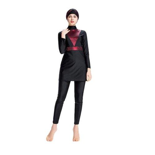 SWIMWEAR SET BLACK WITH RED PATTERN DESIGN