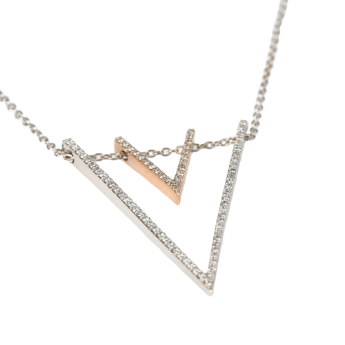 White Gold With Rose Gold V Shaped Pendant Necklace Model 006