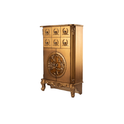 GOLDEN WOOD SIDEBOARD WITH 6 DRAWERS
