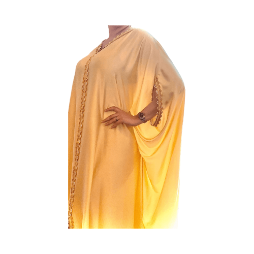 DARAA WOMEN DRESS SATAIN AMBER FREE SIZE