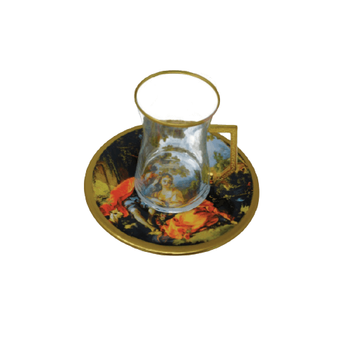 COFFEE CUP SET WITH MAN & WOMEN PRINTED SAUCER