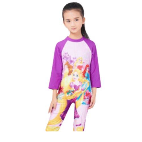 CARTOON CHARACTER ON SWIMWEAR FOR GIRLS WITH LONG SLEEVES