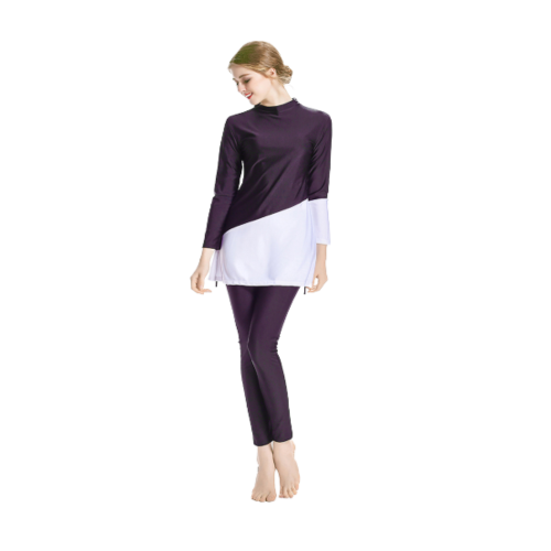 SWIMWEAR SET FOR WOMEN WITH PUPLE AND WHITE DESIGN