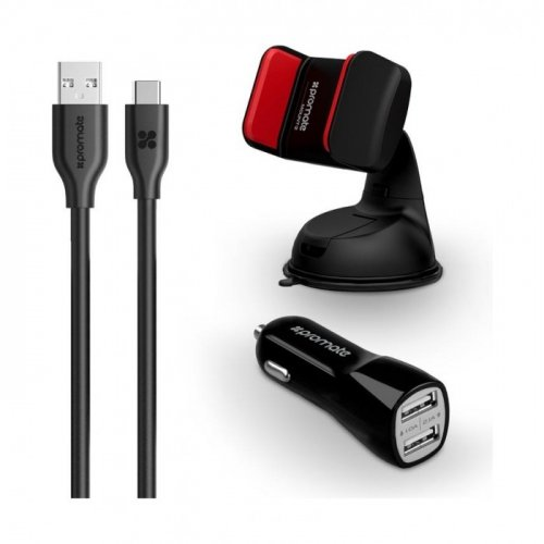 CAR KIT WITH 3.1A 2 USB CAR CHARGER, CAR MOUNT AND 1.2M TYPE-C CHARGE CABLE BLACK PROMATE