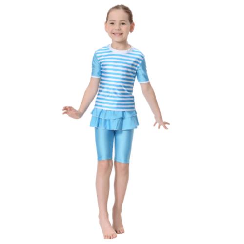 KIDS SWIMWEAR FOR GIRLS STRIPE TWO PIECE BLUE
