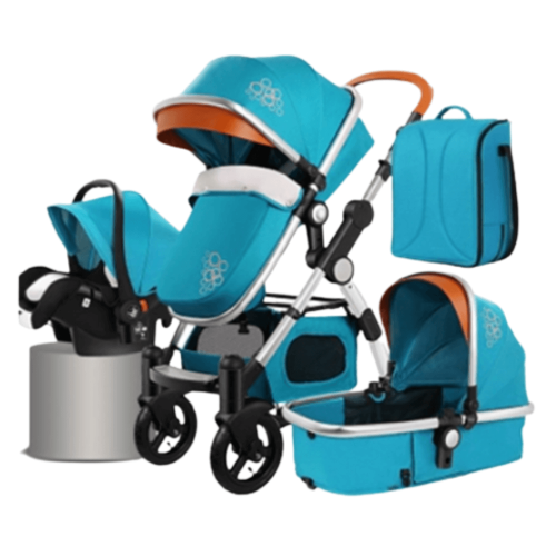 BABY STROLLER 4 IN 1 CARRYCOT WITH CAR SEAT AND SLEEPING BAG EUROPEAN STANDARD 0-3Y/O-Blue