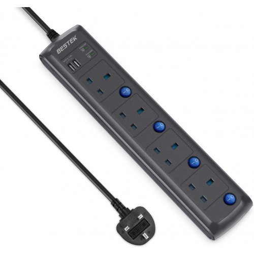 BESTEK 4 WAY EXTENSION SOCKET POWER STRIP OUTLET WITH SURGE PROTECTION