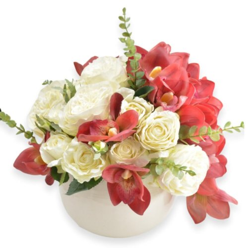 ASSORTED FLOWERS WITH CERAMIC WHITE POT