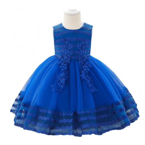 PARTY DRESS EMBROIDERY PUFFY BABY GIRL BLUE FOR 6M-18MONTHS