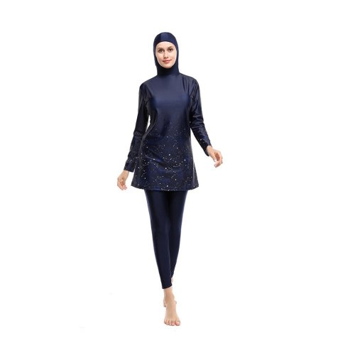 HOODED TRAPEZE DRESS SWIMMING SET WITH LEGGINGS