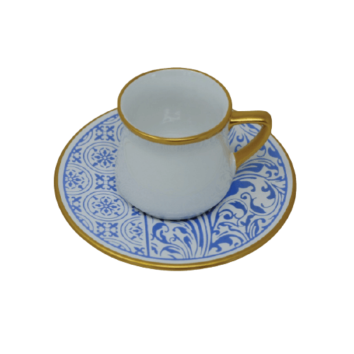 COFFEE CUP SET WITH BLUE HAND PAINTED SAUCER