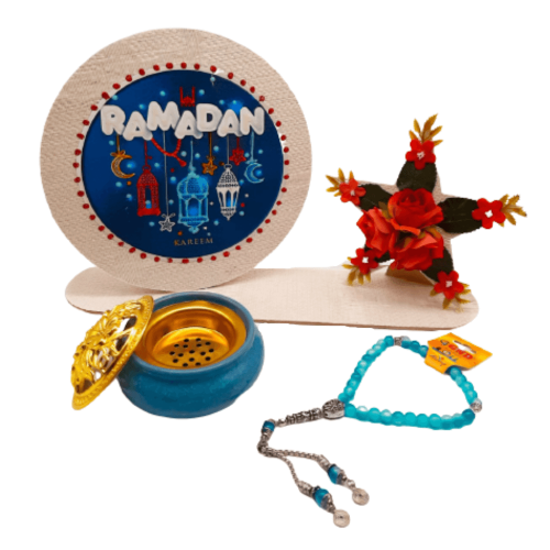 RAMADAN STAR GIFT WITH SCENT BURNER AND ROSARY FULL SET BLUE