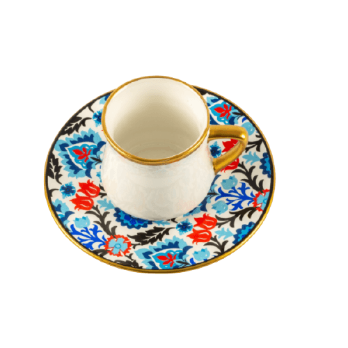 COFFEE CUP SET WITH BLUE HAND FLORAL PAINTED SAUCER