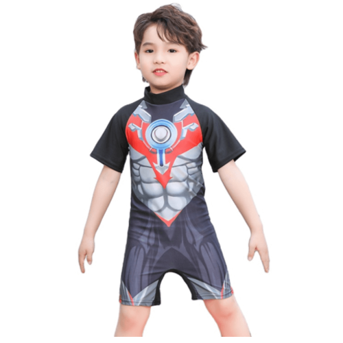 CARTOON CHARACTER ON SWIMWEAR FOR BOYS WITH SHORT SLEEVES
