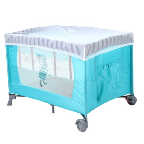 BABY BED PLAYPEN BLUE WITH MOSQUITO NET