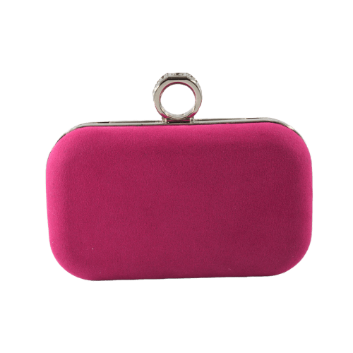 WOMEN CLUTCH BAG WITH FINGER RING SUEDE