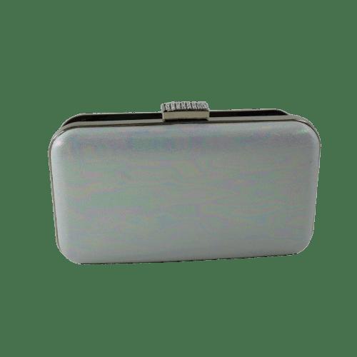 WOMEN CLUTCH BAG WITH RAINBOW REFLECTIVE DESIGN WHITE