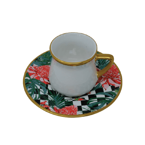 COFFEE CUP SET WITH HAND PAINTED CHECKERED SAUCER