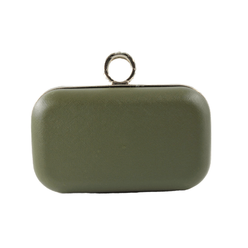 WOMEN LEATHER CLUTCH BAG WITH FINGER RING