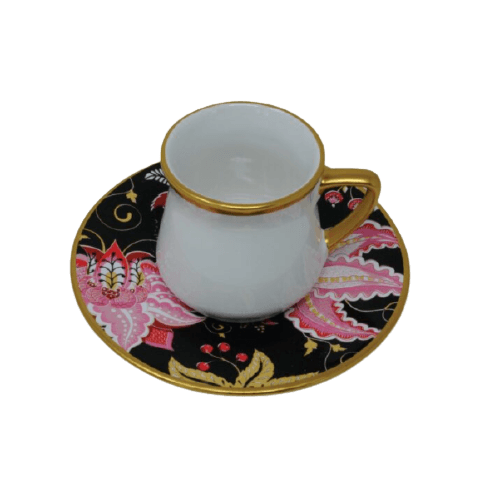 COFFEE CUP SET WITH BLACK FLORAL SAUCER