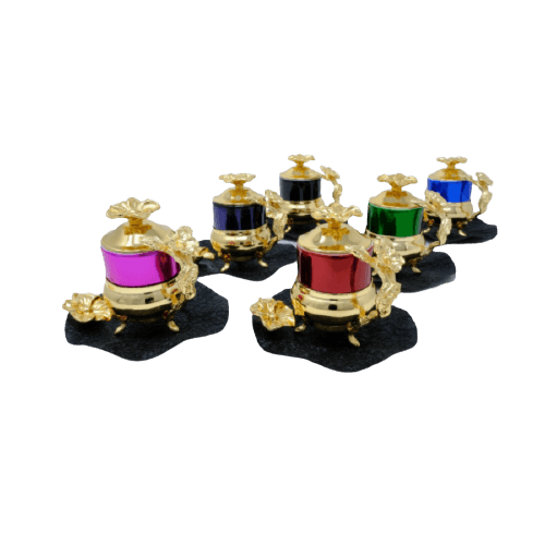 GOLD PLATED COLORED COFFEE SET WITH COVER BLACK SAUCER