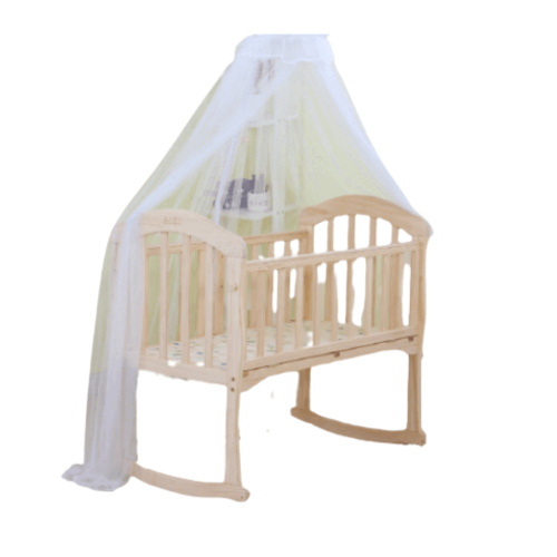 BABY WOODEN BED WITH MOSQUITO NET