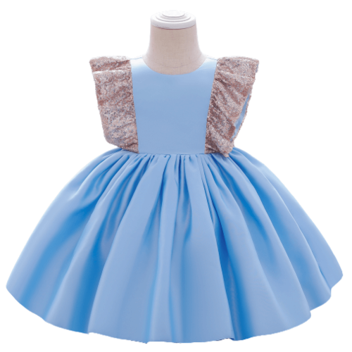SEQUINED FLOWER BABY GIRL DRESS WITH LOVELY BOW 3-5Y/O