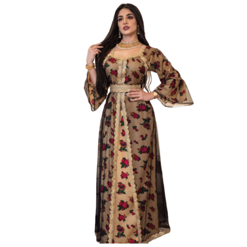 FASHIONABLE EMBROIDERED ABAYA WITH  MESH FLOWER LACE DESIGN