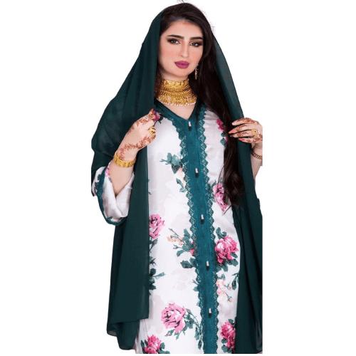 MAXI FLORAL ABAYA DRESS FOR MUSLIM WOMEN