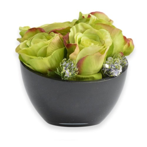 GREEN ROSES WITH CERAMIC POT