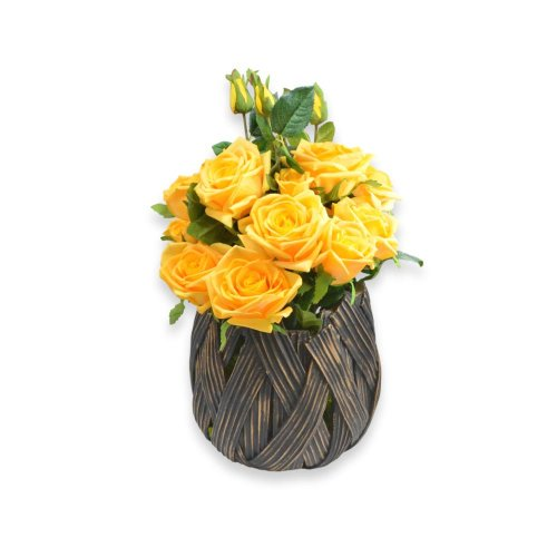 LUXURIOUS POT GOLDEN DESIGN WITH YELLOW ROSES