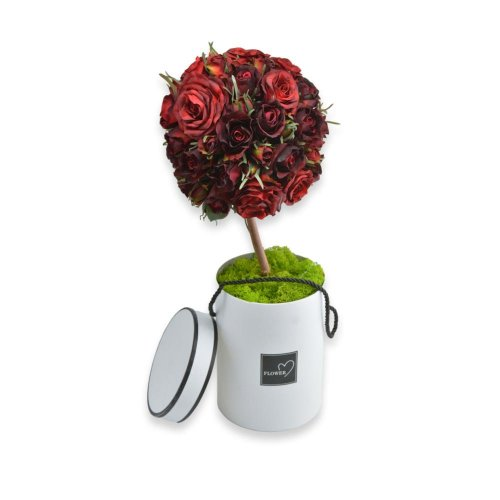 RED FLOWER TREE IN A WHITE ROUND BOX
