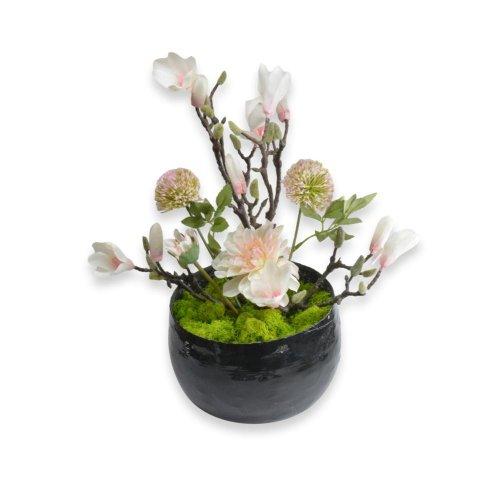 SIMPLE FLOWERS IN CERAMIC BLACK POT