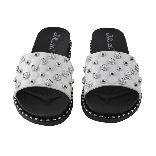 WOMEN'S SLIPPERS WITH SILVER BEADS AND FLOWERS