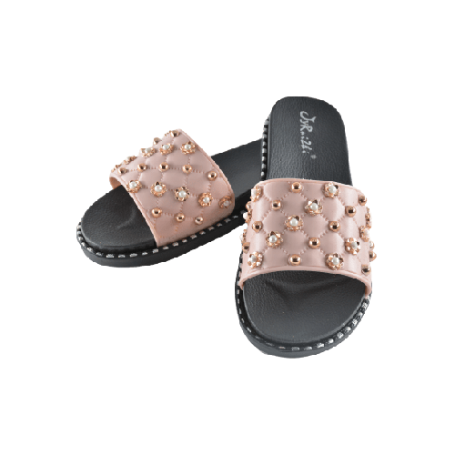 WOMEN SLIPPERS BEIGE WITH PEARL AND GOLD METAL BEADS