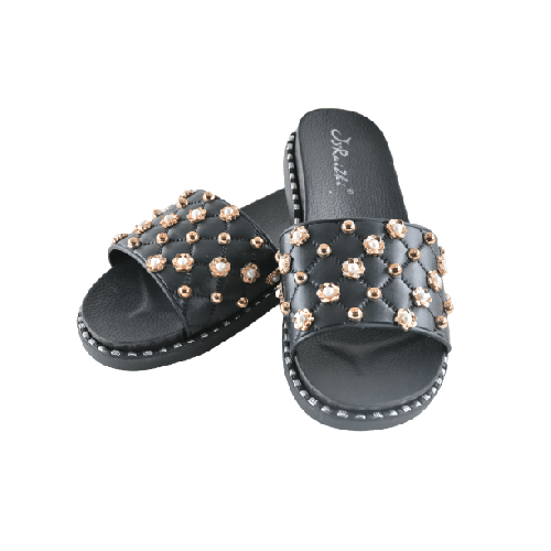 WOMEN SLIPPERS BLACK WITH PEARL AND GOLD METAL BEADS