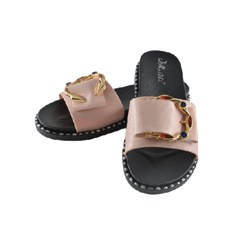 WOMEN SLIPPERS BEIGE WITH GOLD METAL AND GEMS