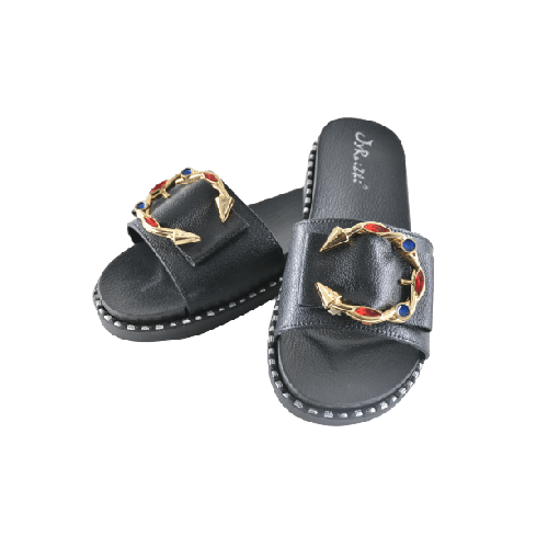 WOMEN SLIPPERS BLACK WITH GOLD METAL AND GEMS