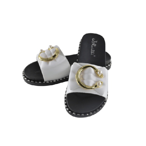 WOMEN SLIPPER WITH GOLD METAL AND PEARL END WHITE