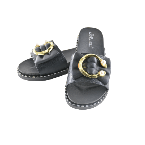 WOMEN SLIPPER WITH GOLD METAL AND PEARL END BLACK