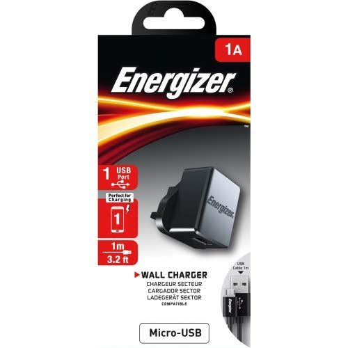 ENERGIZER CLASSIC WALL CHARGER MICRO-USB 1A 1USB UK - BLACK