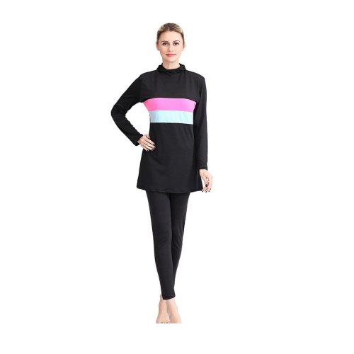 HOODED SWIMWEAR SET WITH PINK AND BLUE HORIZONTAL PATTERN