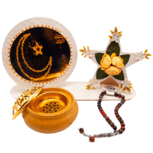 RAMADAN STAR GIFT WITH SCENT BURNER AND ROSARY FULL SET GOLD