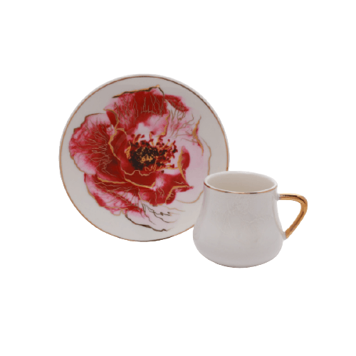 COFFEE CUP SET AND SAUCERS WITH FLOWER PRINT