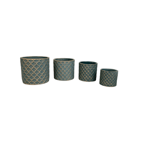 SMALL GREEN POTTERY FLOWERS POTS