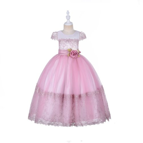 FORMAL DRESS WITH SHORT SLEEVE FOR GIRLS WITH GIFT BOX