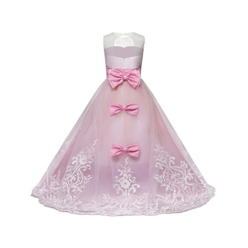 PARTY DRESS FOR GIRLS LONG GOWN PINK WITH GIFT BOX