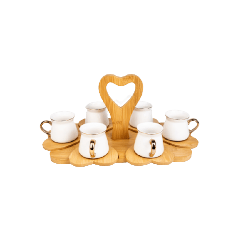 COFFEE SET WITH WOODEN HEART SAUCER